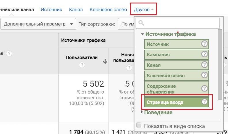 Интерфейс Google Analytics