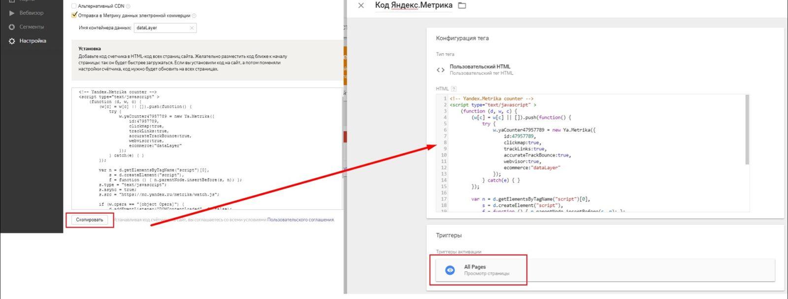 Копирование кода из Я.Метрика в Пользовательский HTML Google Tag Manager