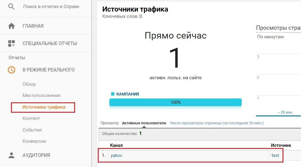 Проверка установки кода Google Analytics в режиме реального времени