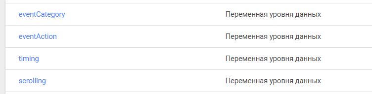 """Четыре переменных в GTM типа """"Переменная уровня данных"""""""