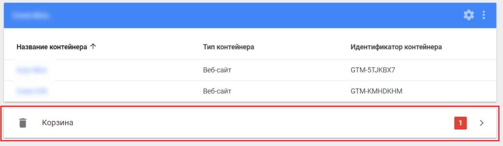 Удаленные аккаунты и контейнеры в Google Tag Manager