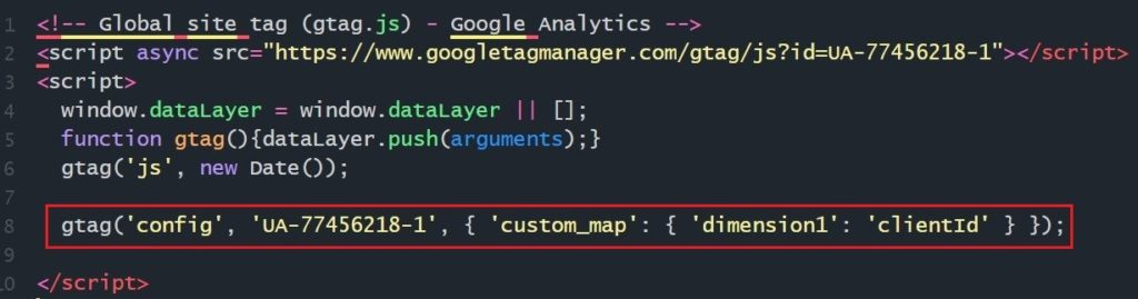 Фрагмент кода Google Analytics