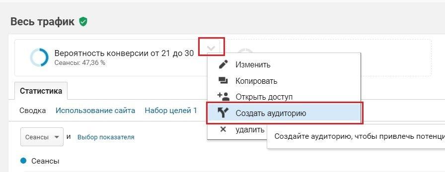 Создание аудитории в Google Analytics