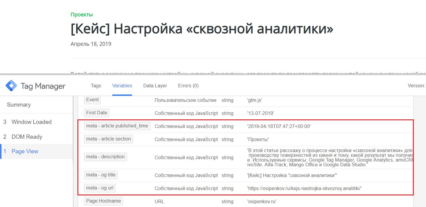 Отслеживание метатегов в Google Tag Manager