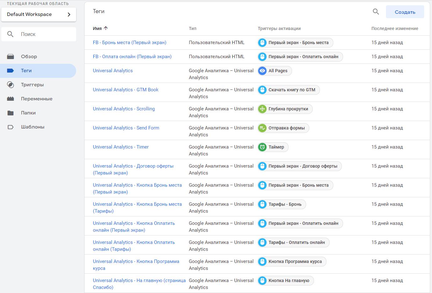 Общий тег событий в Google Tag Manager