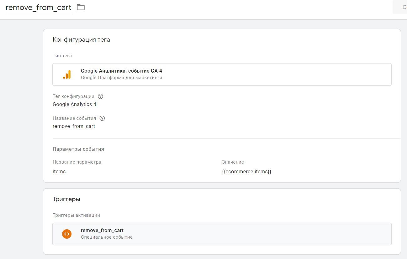 Электронная торговля для Google Analytics 4